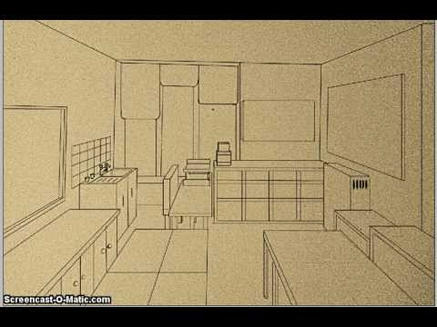 how to draw a perspective room youtube. Black Bedroom Furniture Sets. Home Design Ideas