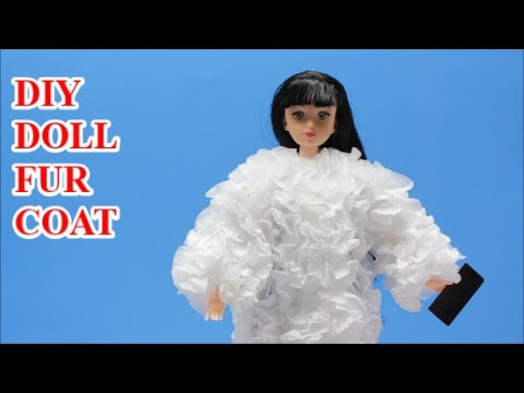 How to Make Doll Clothes from Tissue Paper: DIY Fur Coat for Barbie   Doll Dress Fun