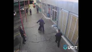 Remote Video Monitors Assist Police Officers and K9 Unit Locate Suspect -Shopping Plaza Security