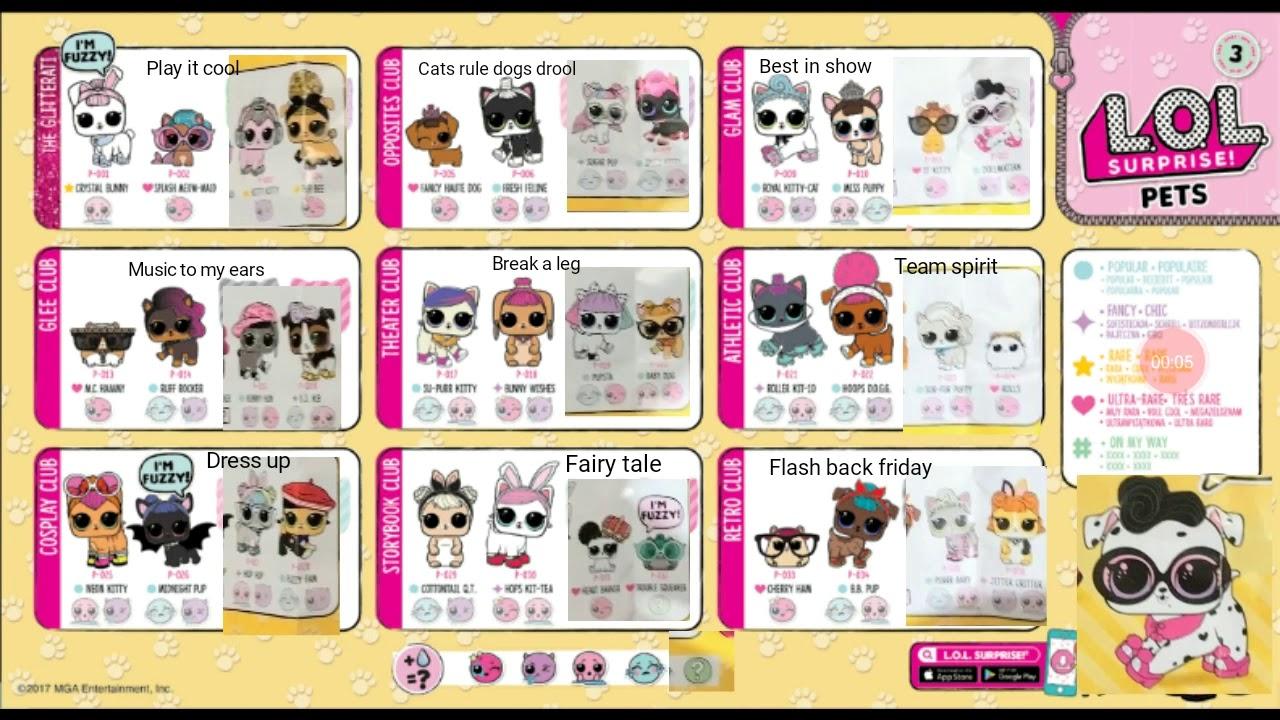 Lol Surprise Pets Checklist Series 3