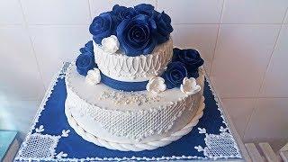 """Свадебный Торт """"Синие Розы"""" Оформляем и Рисуем Узоры / Amazing Wedding Cake Decorating"""