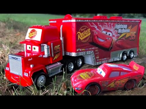 Disney Pixar Cars Red Mack Hauler and Lightning McQueen Ride Along to Nursery Rhymes in Real Life