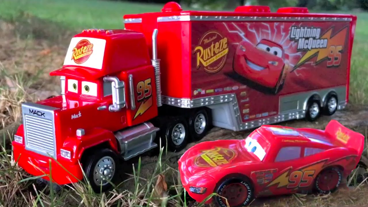 Disney Pixar Cars Red Mack Hauler and Lightning McQueen Ride Along to Nursery Rhymes in Real Life - YouTube & Disney Pixar Cars Red Mack Hauler and Lightning McQueen Ride Along ...