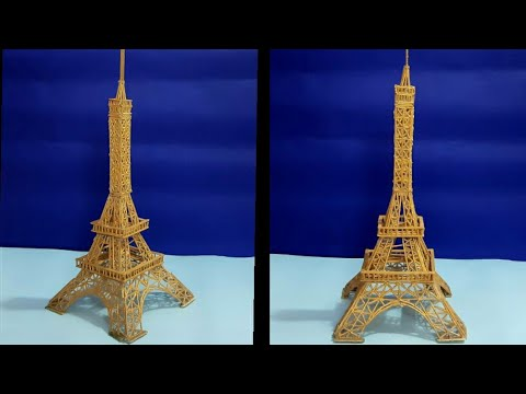 Eiffel Tower making | Wooden stick/ Ice cream stick craft | How to make Eiffel Tower by toothpick