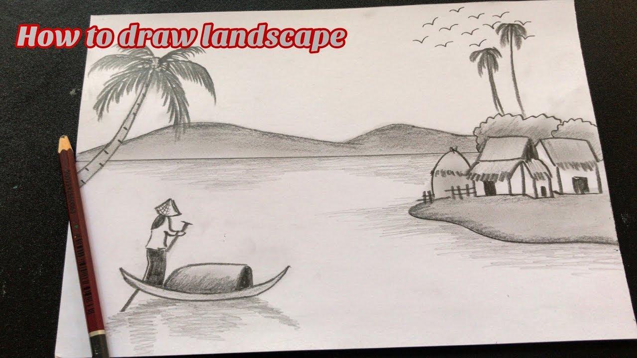 Cách vẽ tranh phong cảnh bằng BÚT CHÌ | How to draw scenery by PENCIL