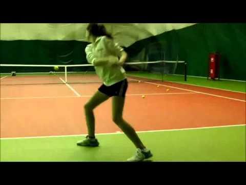 Masha (13 years), training slow motion at my tennis lesson