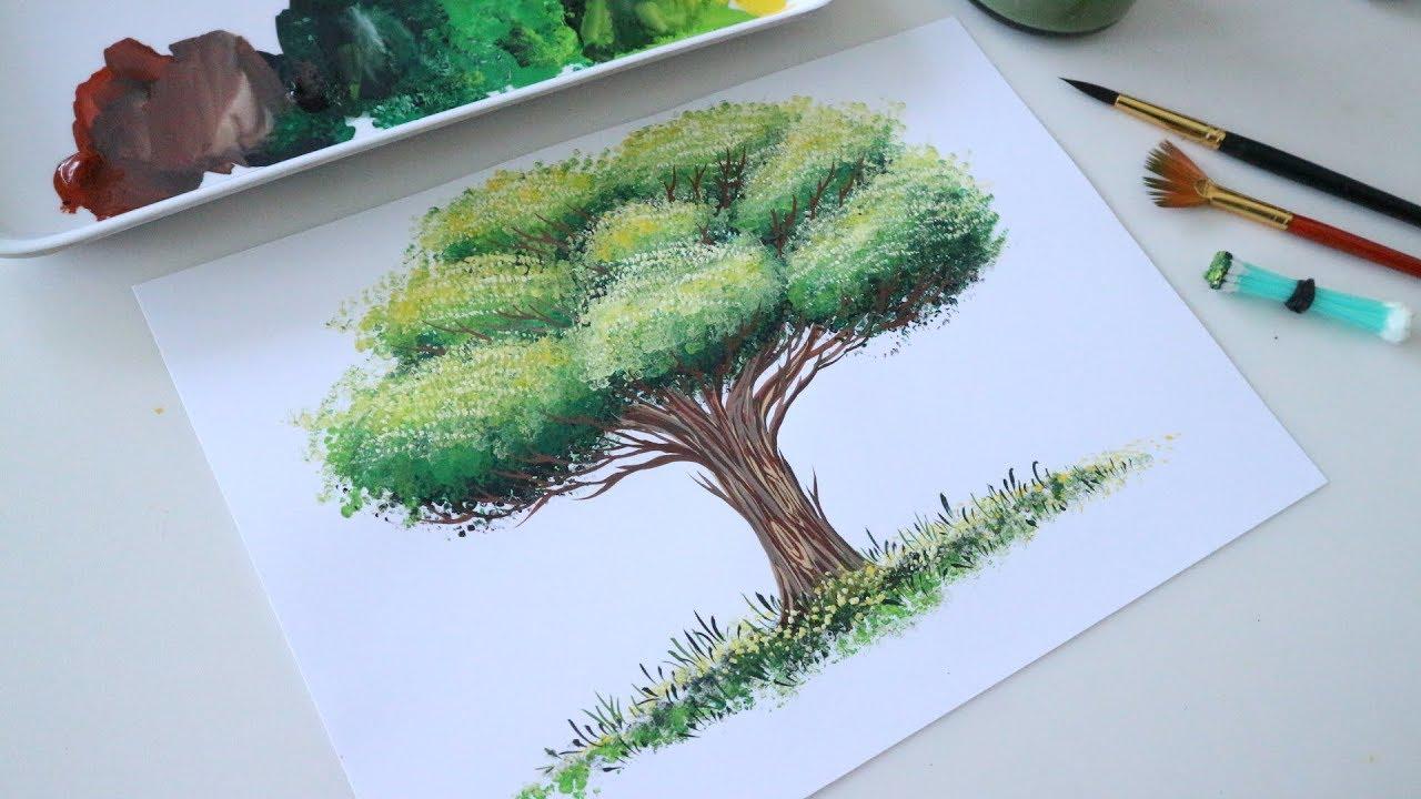 ART#23 VẼ CÂY BẰNG TĂM BÔNG với màu nước Thiên Long | Watercolor Tutorial | VanHien's ART & DIY