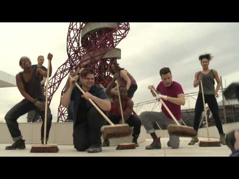 The cast of Stomp celebrate the re-opening of the ArcelorMittal Orbit