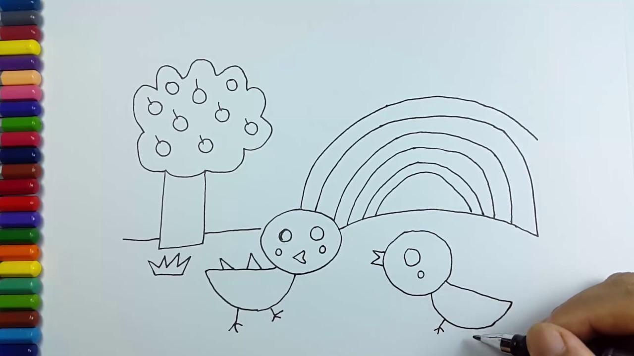 Cara Menggambar Pemandangan Pelangi Dan Anak Ayam