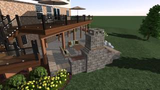 Deck Stairs, Patio, And Fireplace In A 3d Landscape Design