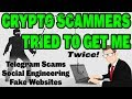 Crypto Scammers tried to get me, twice! Telegram social exploits, fake EOS sites & what to watch for