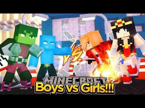 Minecraft Adventure - TEEN TITANS BOYS VS GIRLS!!