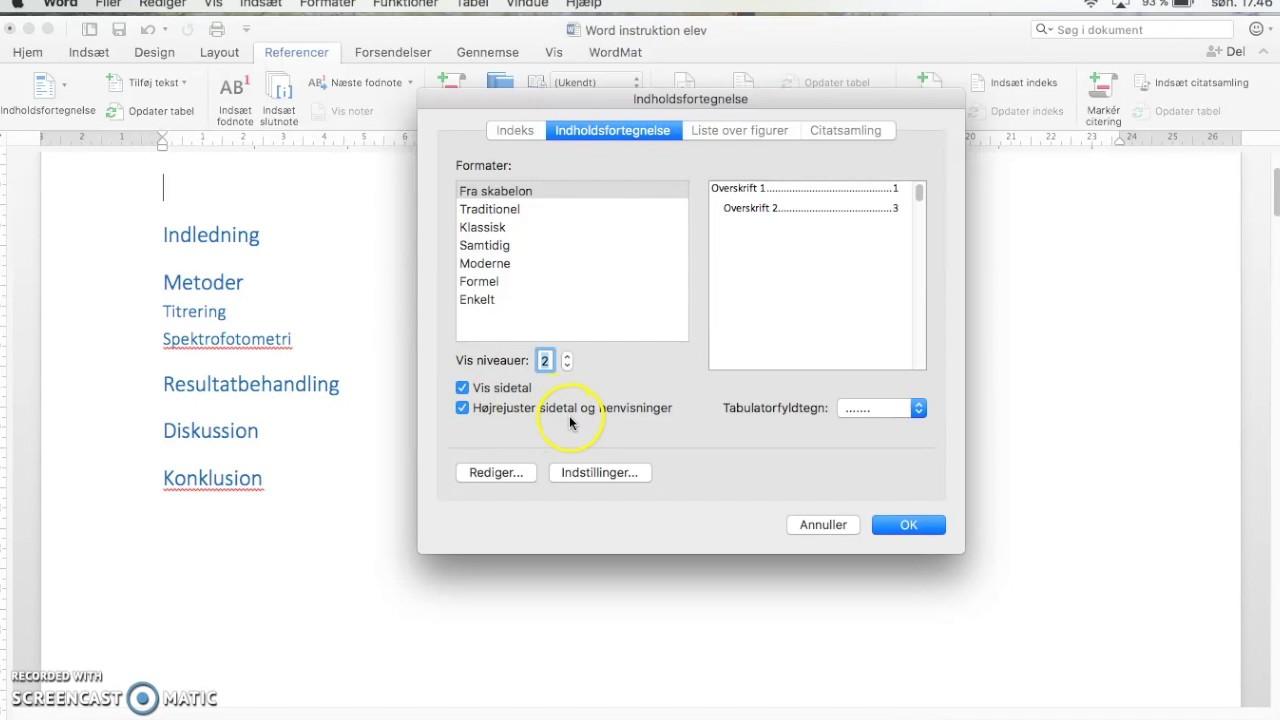 Automatisk genereret indholdsfortegnelse i Word på Mac