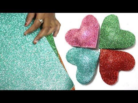 How to Make Heart with Glitter Foam Sheet   Puffed Heart   Glitter foam sheet craft ideas