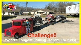 World's Longest Trailers Pulling Challenge! Powered Ride on Trucks and Mini Rollback For Kids - Stafaband