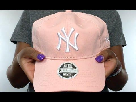 6e41418559a Yankees  WOMENS PREFERRED PICK STRAPBACK  Light Pink Hat by New Era ...