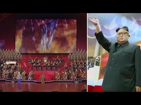 North Korean TV broadcasts music and missiles attacking US in video mock-up