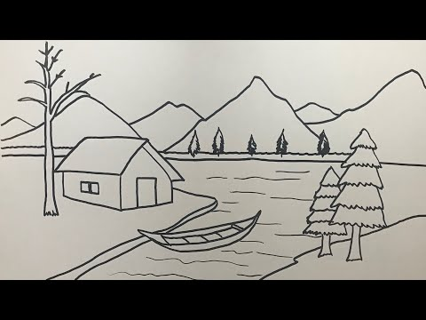 Manzara Resmi Çizimi Nasıl Yapılır   Landscape Scenery Picture Drawing Art