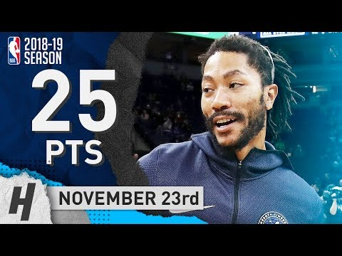 Derrick Rose Full Highlights Timberwolves vs Nets 2018.11.23 - 25 Points, SICK!