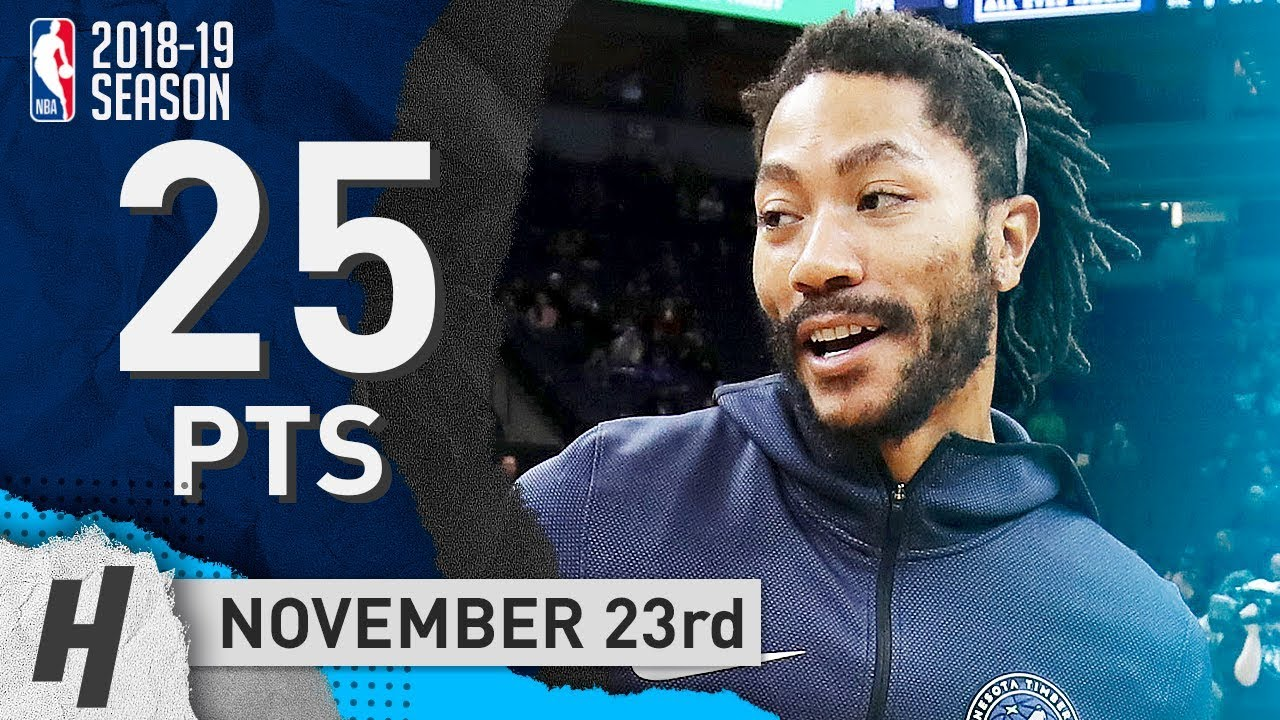 d921e2b2ec06 Derrick Rose Full Highlights Timberwolves vs Nets 2018.11.23 - 25 Points