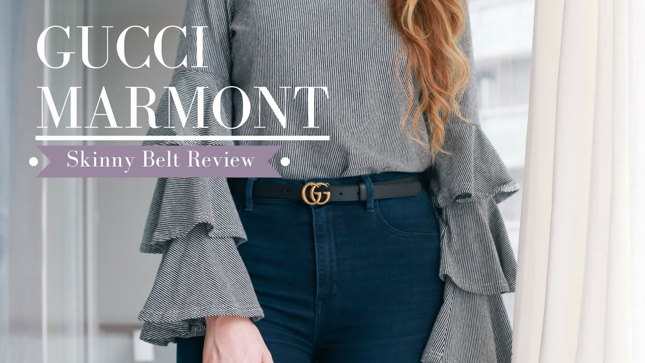 bcf5dae4 GUCCI Marmont Skinny Belt Sizing & Try-On || Nataliastyle - YouTube