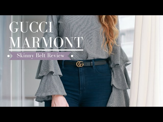 5cd626ceff17 GUCCI Marmont Skinny Belt Sizing   Try-On