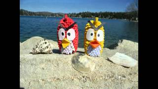 3d Origami Angry Birds And Green Pig At The Lake