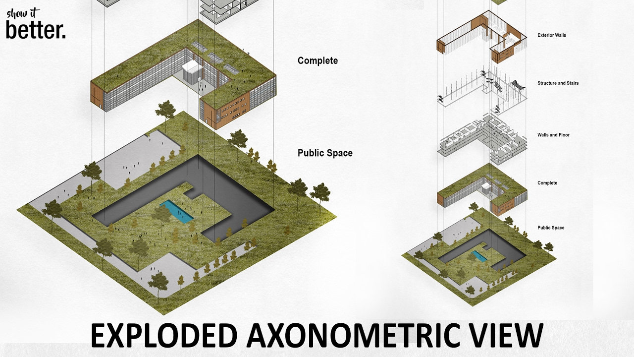 Exploded Axonometric View In Photoshop Youtube