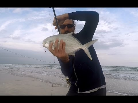 Surf fishing my 1st pompano of 2016 youtube for Pompano beach fishing report