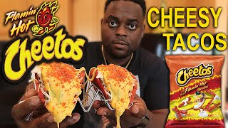 MAKING CHEESY TACOS WITH HOT CHEETOS