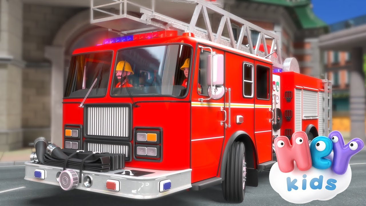 Fire Truck cartoon 🚒 Fireman song for children 🧯 HeyKids - Songs for kids