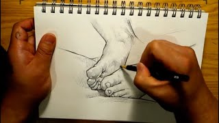 Let's draw the feet. / Pencil Drawing Technique. / Drawing process.