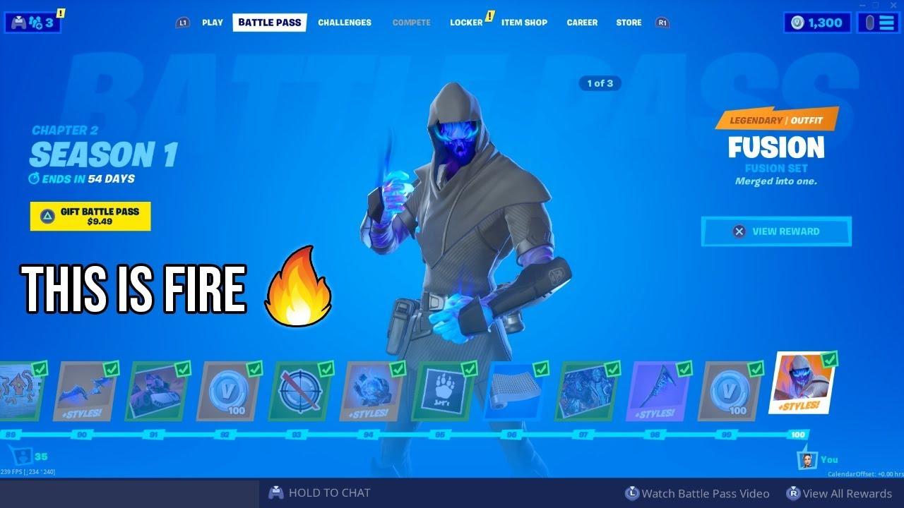 Fortnite Chapter 2 Buying All 100 Season 1 Battle Pass Tiers Fusion Skin Unlocked