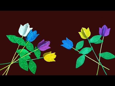 Beautiful paper lotous  flowers stick step by step | paper flower |Tamilth Thentral | IshwaryaRajesh