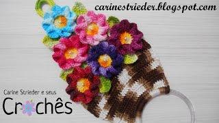 Porta Pano de Prato – Cesta de Flores por Carine Maria Strieder