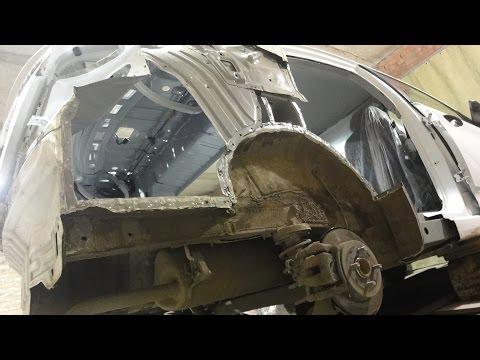 Хендай Солярис.Кузовной ремонт после боковых ударов.Часть2