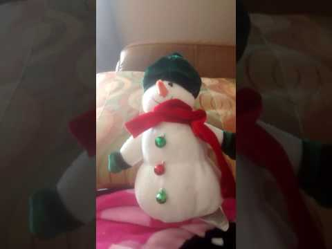 Stuffed animal snowman singing