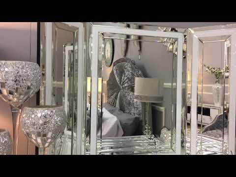 Madison White Glass Vanity Tri-Fold Mirror