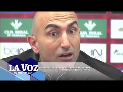 El entrenador del Sporting de Gijón, Abelardo Fernández, explotó este jueves en la sala de prensa