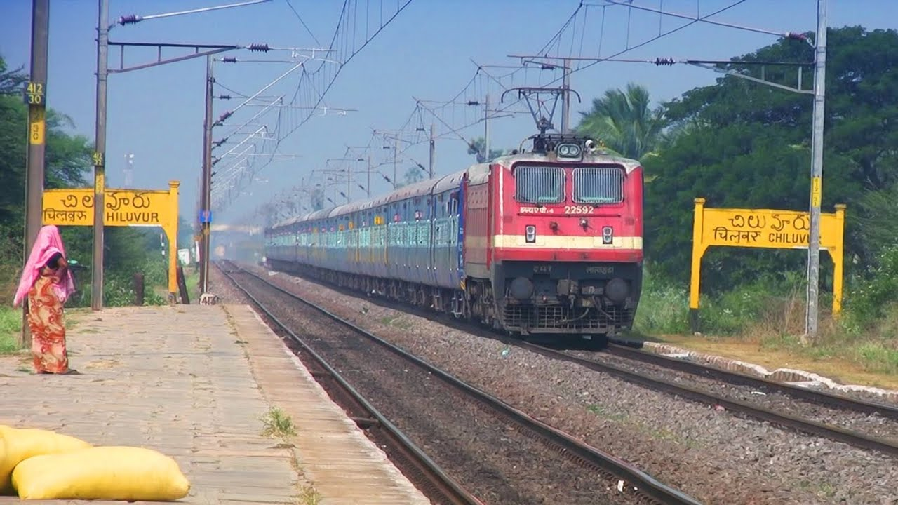 Train Video Of Janmabhoomi Express At Chiluvur Youtube
