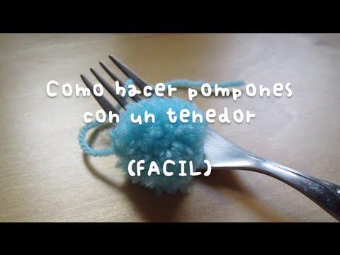 Mini pompones hechos con un tenedor facil youtube - Como hacer pompones ...