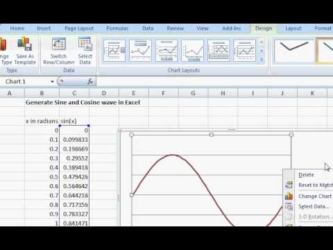 generate sine or cosine wave in excel sheet
