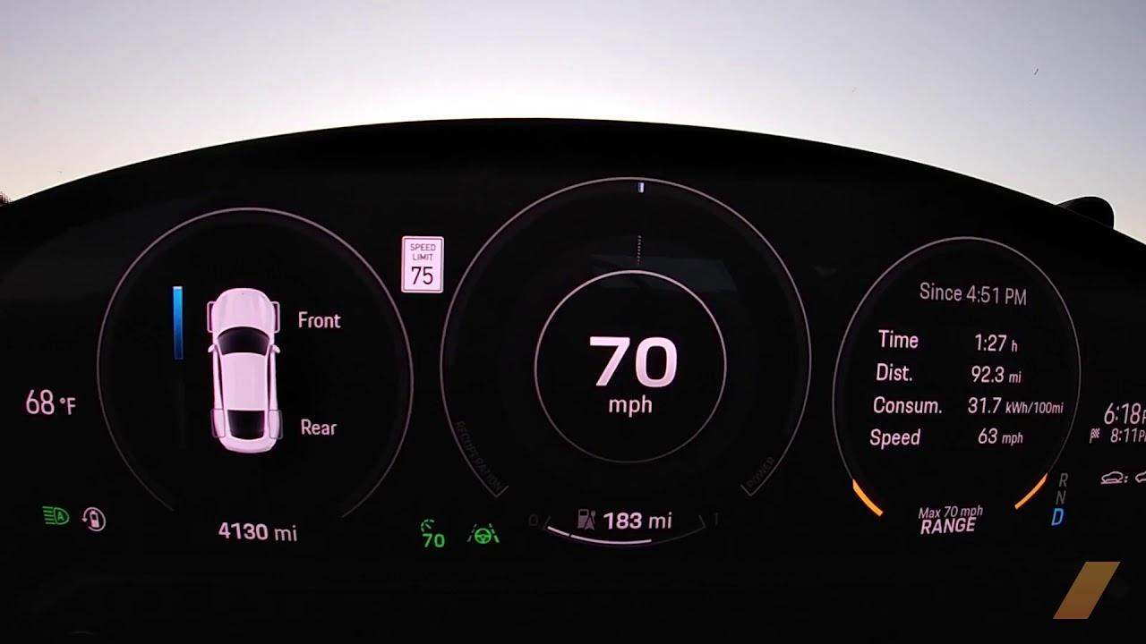 2020 Porsche Taycan Turbo Range Test -- 295 MILES -- Gauge View Video