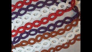 Вязание крючком. Цепочка из колец. Crochet a chain of rings.