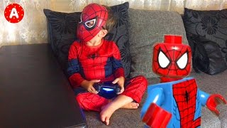 Spider-Man and Iron Man Playing Lego Marvel Game