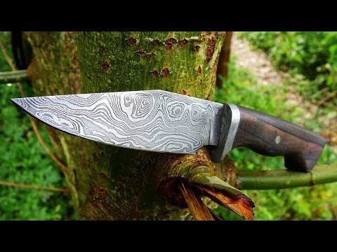 Knife making - hidden tang damascus knife
