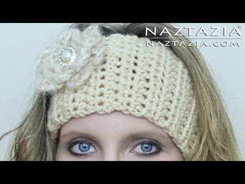 Crochet Flower Ear Warmer Tutorial : DIY Learn How to Crochet Easy Headband Wrap with Flower ...