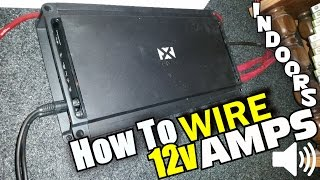 How To Wire Car Audio Amplifier (In Home) NVX JAD1200.1 Bass Amp & Crescendo LOGIC 12V AGM Battery