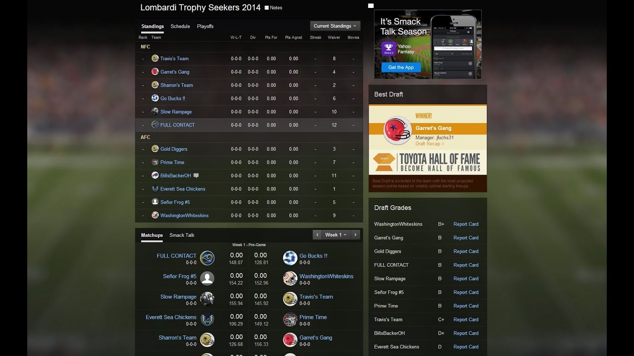yahoo 2014 fantasy football online draft review