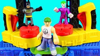 Batman Invites Joker Skateboard Dude And Mr. Freeze To The Imaginext Battle Batcave Playset